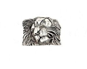 Heavy-Metal-Lion-Head-Belt-Buckle-Silver-Plated-Silver-Plated-Lion-Head-Buckle