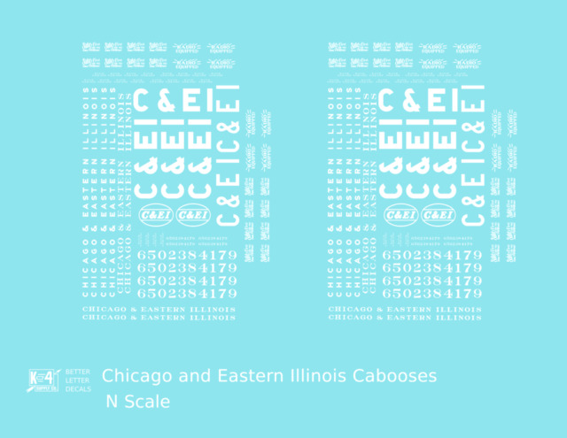 K4 N Decals Chicago and Eastern Illinois C&EI Caboose White