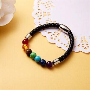 Genuine Bracelet Natural Gemstone 7 Chakra Beads Leather Healing Reiki UKseller