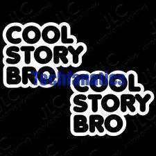 2Pcs JDM Euro Funny Cool Story Bro Car Laptop Window Vinyl Decals Stickers White