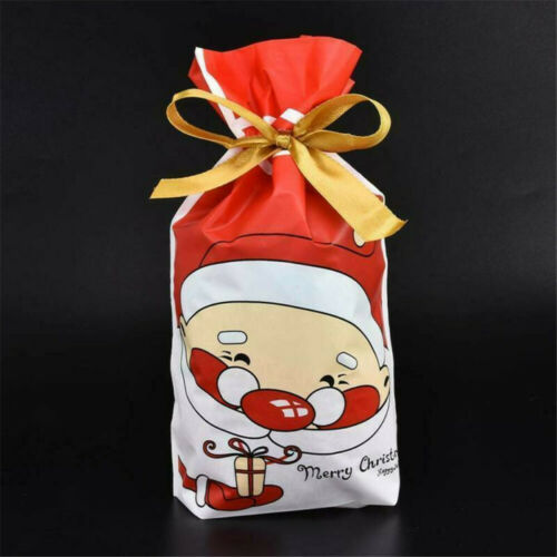 Christmas Sacks Reusable Drawstring Wrap Present Gift Party Bags Storage 10pcs