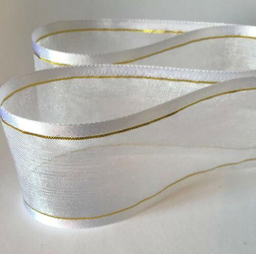 * del Borde del satén de lujo con Rayas Oro Metálico Cinta de Organza Transparente Chifón