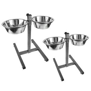 Pet-Dog-Food-Feeding-Station-Double-Stainless-Steel-Bowls-Set-Adjustable-Stand