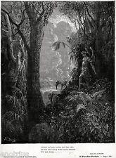 L'ANGELO RIBELLE SATANA TORNA IN PARADISO PER SEMINARE IL MALE. Doré.Milton.1887