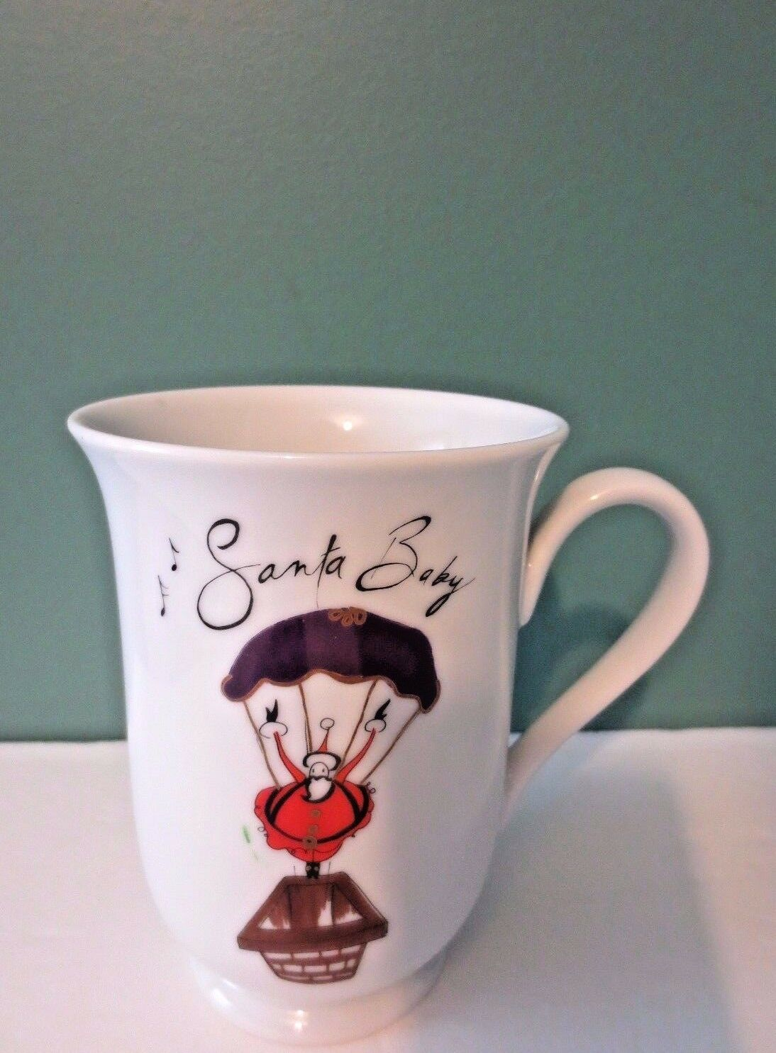 Awesome NEW Set of  8 Footed Footed Footed  SANTA BABY  Christmas Coffee Mugs by  POTTERY BARN f213dc