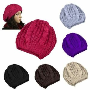 New-Unisex-Womens-Mens-Winter-Warm-Knit-Beret-Hat-Beanie-Crochet-Ski-Baggy-Cap