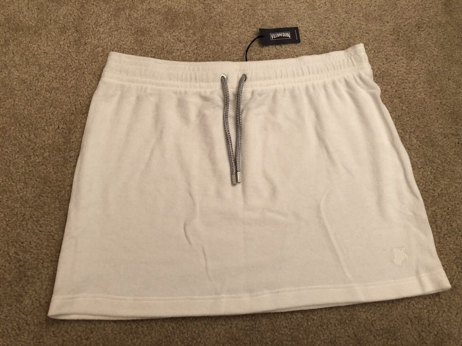 New w Tags Authentic VILEBREQUIN Terry Cloth Skirt - Women - White - Size S