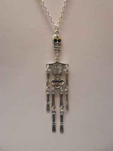 "Silver Plated Articulated Skeleton With 18/"" Silver Plated Necklace"