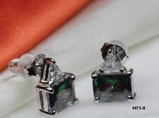 BRAND NEW VNTG STYLE EMERALD CZ MYSTIC RAINBOW PEACOCK FIRE TOPAZ STUD EARRINGS