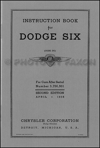 1935 Dodge Car Owners Manual DU Owner Instruction Guide Book 35