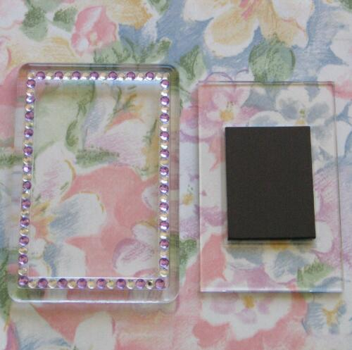 20x Blank PurpleSilver Gemstone Acrylic Magnets 81x55mm Frame & 70x45mm Photo