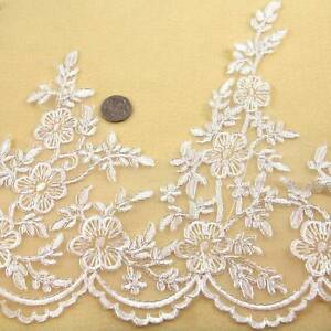 1-METRE-CREAM-IVORY-WITH-SILVER-TRIM-LACE-200mm-WIDTH-BRIDAL-TRIMMING-HL1383