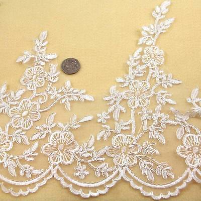 1 METRE CREAM / IVORY WITH SILVER TRIM LACE 200mm WIDTH BRIDAL TRIMMING HL1383