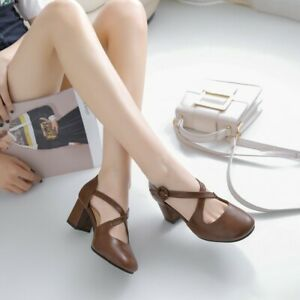 Womens-Mary-Jane-Mid-Heels-Roman-Cross-Strappy-Round-Toe-Casual-Pumps-Work-Shoes