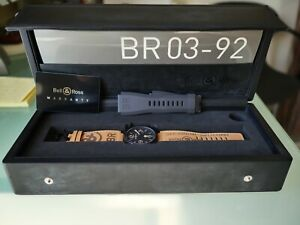 Bell & Ross BR 03-92 Héritage avec Bracelet Cuir BR Aviation Militaire.