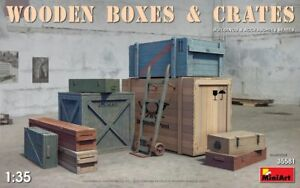 Miniart En Bois Boites & Crates Boîte 1:3 5 Kit De Montage Modèle 35581 Diorama