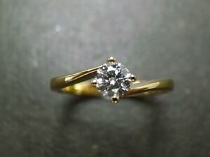 0.50 Ct Round Cut Moissanite Engagement Ring 14K Solid Yellow Gold ring Size 6 7