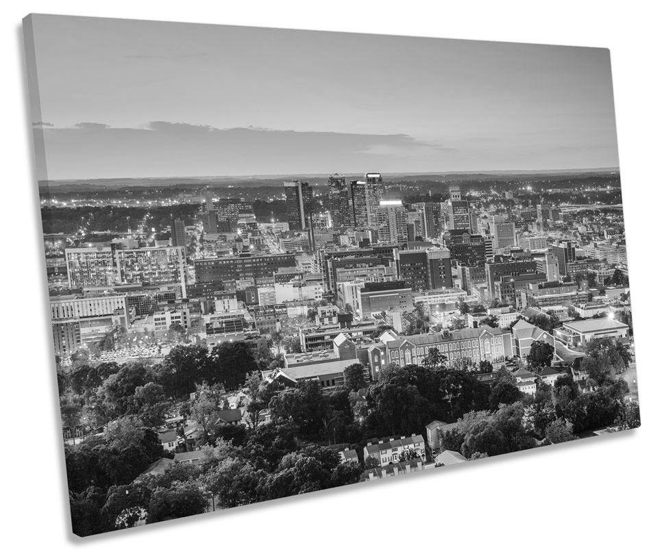 Birmingham Alabama Skyline B&W CANVAS WALL ART SINGLE Picture Print