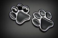 (2) 3D PAWS DOG CAT  3D CHROME BLACK ANIMAL PAWS STICKER, EMBLEM DECAL FROM USA