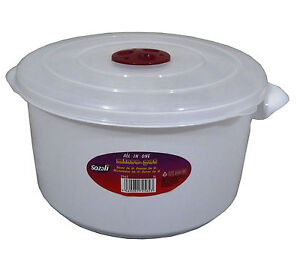 Microwave Pot Tub Round 3l Bowl White With Vented Clear