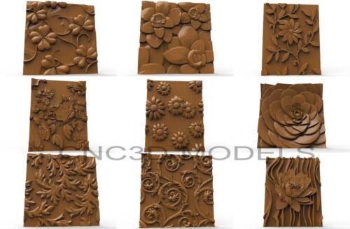 3D Model STL for CNC Router Carving Artcam Aspire Collection Flowers 1991