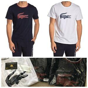 New-Lacoste-men-039-s-Knit-Lounge-Logo-big-croc-T-Shirt-fast-shipping