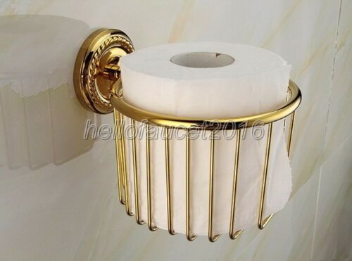 Wall Mount Bathroom Accessory Gold Color Brass Toilet Paper Roll Holder lj016-5