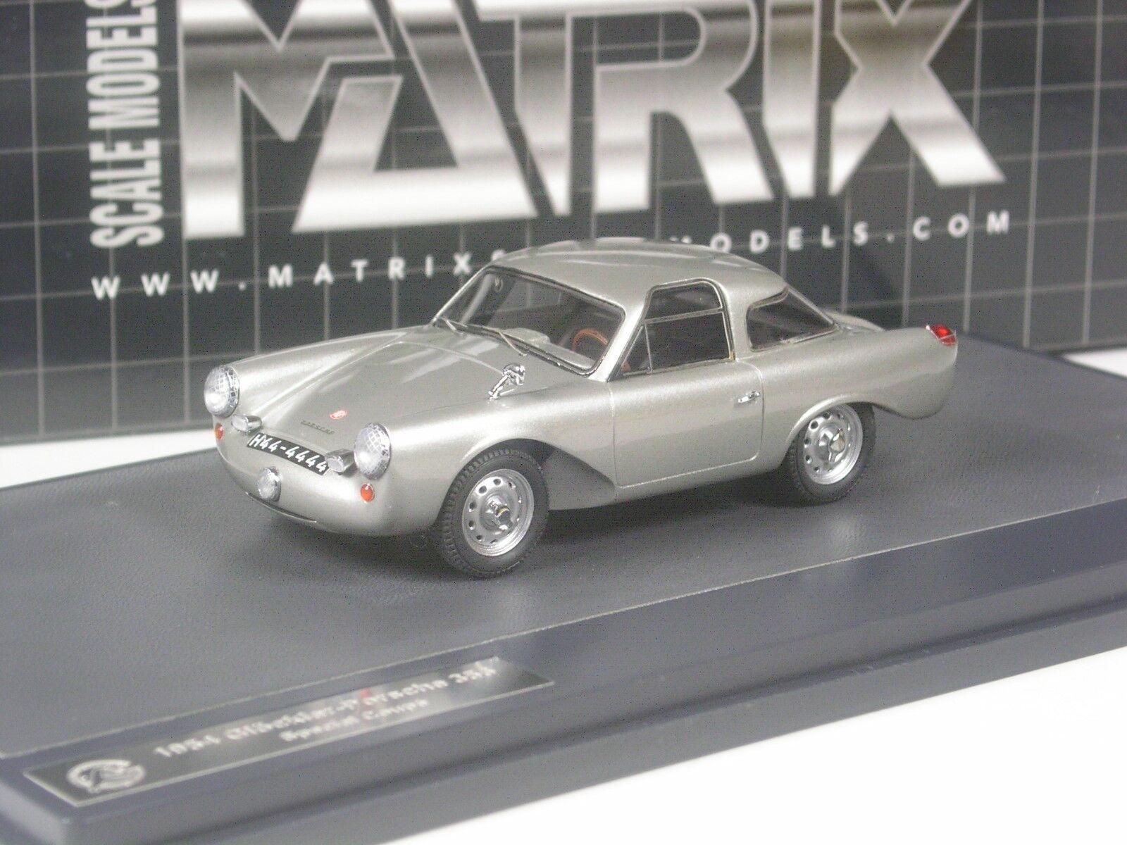 CLASSE: Matrix glöckler PORSCHE 356 SPECIAL coupé argent en 1:43 dans neuf dans sa boîte   Bradées