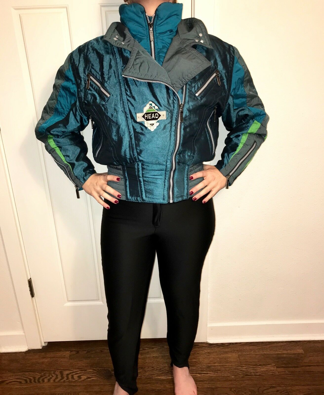 Vtg 80s 90s One Piece HEAD Iridescent Damenschuhe SKI SUIT Apres Apres SUIT Snow Bib Snowsuit 6 effce7