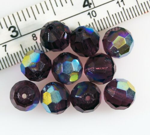 Lot 10 12mm Amethyst Purple Plum AB Finish Round Faceted Crystal Beads Loose Gem