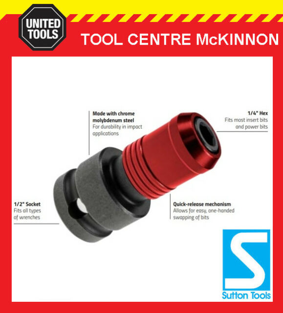 """P /& N BY SUTTON TOOLS 1//2"""" SOCKET TO 1//4"""" HEX ADAPTOR FOR IMPACT WRENCHES"""