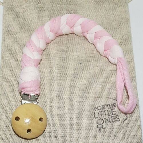Recycled Tshirt Yarn Dummy Clip Holder Baby Shower Gift Pink