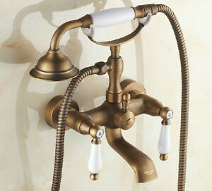 Polished Antique Brass Clawfoot Tub Faucet Dual Handles Wall Mounted