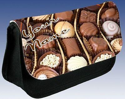 ★ GIRLS LADIES Personalised CHOCOLATE SWEETS Pencil Case MAKE UP Bag BIRTHDAY★