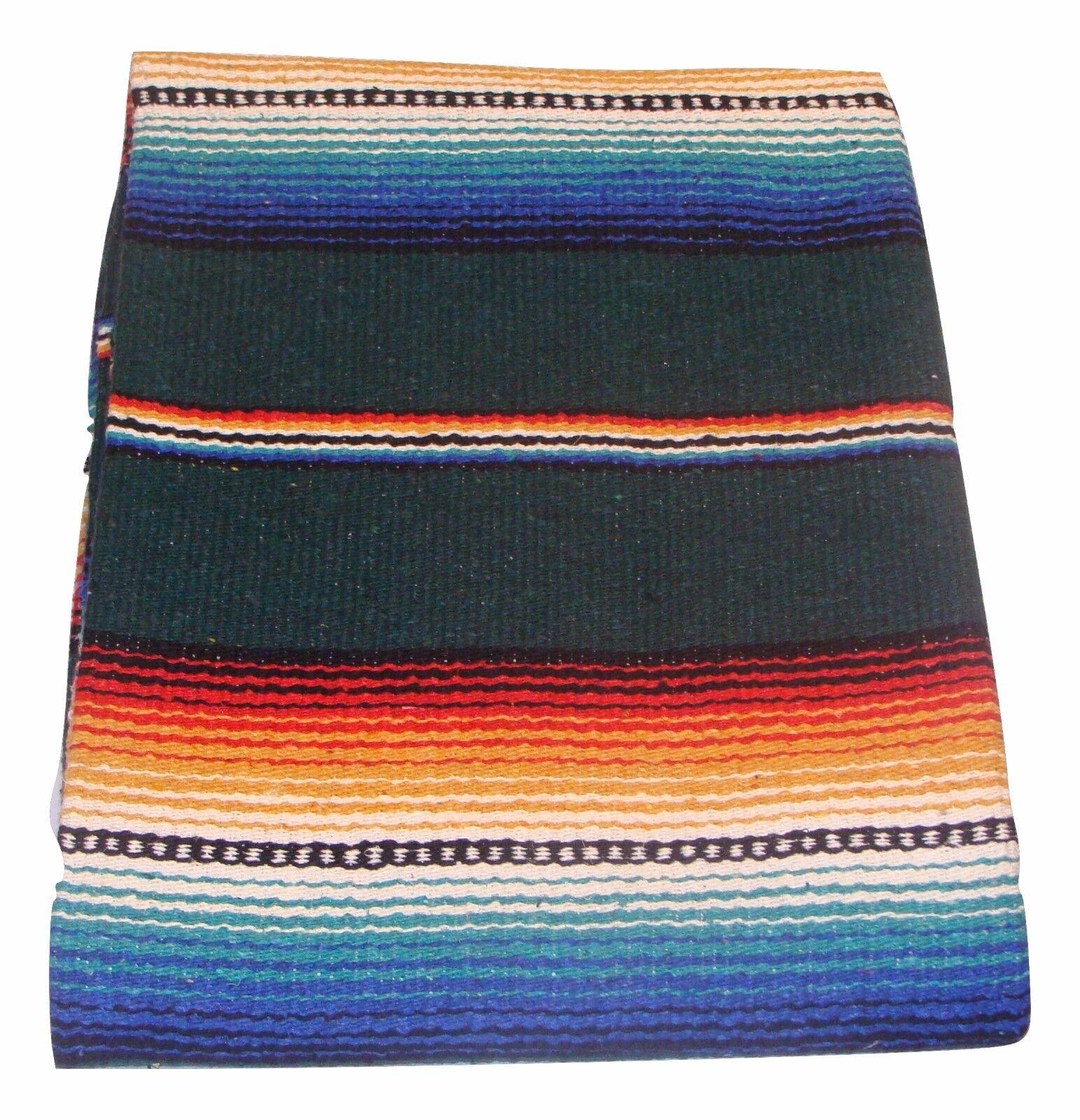#776 Bedding Blankets Throws Sarape Blanket Teal Mexico Beach Yoga Travel Wrap