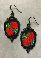Tattoo Red Rose Earrings, Glass Cameo, Alternative Rockabilly Pin-Up Gothic
