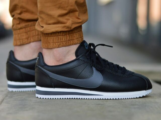 6a8a3176d Nike Classic Cortez Leather Black Grey Running Shoes Size 12 Mens ...
