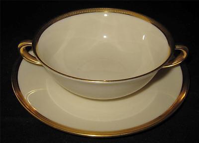 Lenox TUXEDO J33 Cream Soup Bowl & Liner Gold Encrust Verge & Rim Gold Backstamp