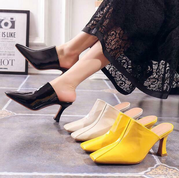 Casual Wouomo sautope Square Toe Slip-on Slippers High Block Heel Leather Mules