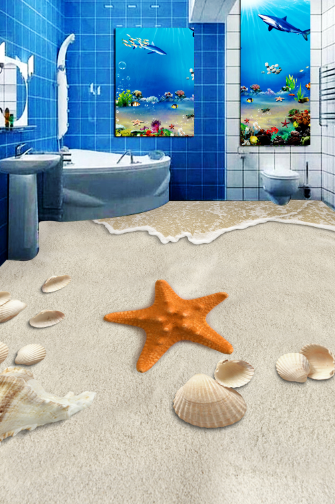 3D Starfish Beach 72 Floor WallPaper Murals Wall Print Decal AJ WALLPAPER US