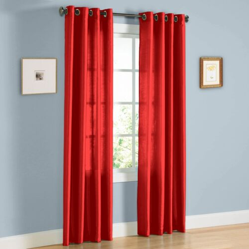 """2 PANEL RED WINDOW  FAUX SILK  8 GROMMET CURTAIN DRAPES 108/"""" LENGTH"""