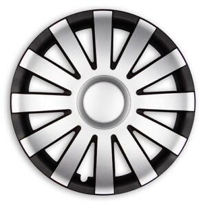 4x PREMIUM DESIGN Radkappen Radzierblenden Agat LACKIERT 14 ZOLL Schwarz Silber