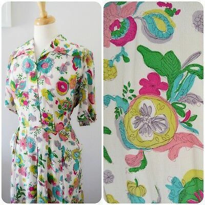 original 1940's NOVELTY PRINT tea dress STUNNING floral print  ww2 uk 16 18