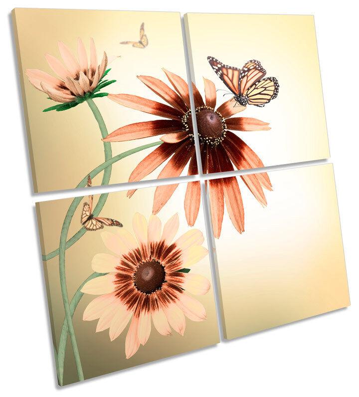 Gerbera Margherita Fiori Farfalla Farfalla Farfalla Floreale Multi Tela Wall Art Quadrato foto 93baf5