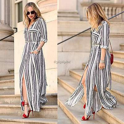 Sexy Womens Summer Boho Long Maxi Evening Party Dress Beach Dresses Shirt Dress