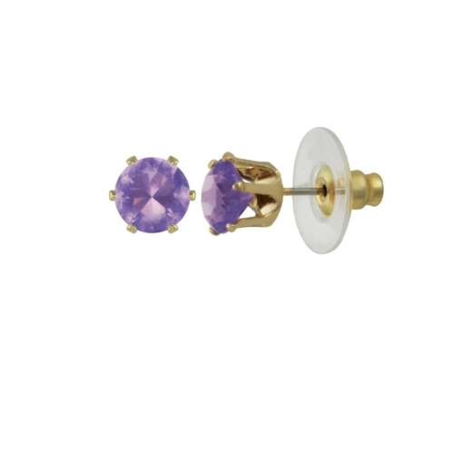 Tara Amethyst Crystal Gold Tone Stud Pierced Earrings