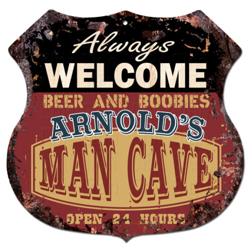 BPMC0224 ARNOLD/'S MAN CAVE Rustic Shield Sign Man Cave Decor Funny Gift