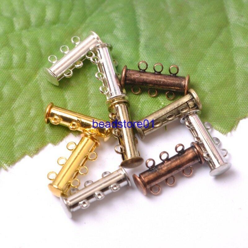 5Sets GOLD /&SILVER,BRONZE,COPPER 3 Strands Magnetic Slide Clasps Hooks 20x17MM