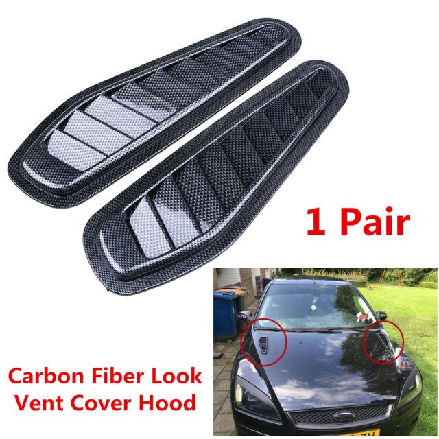 1 Pair Race ABS Car Hood Scoop Carbon Style Bonnet Air Vent Decorative Accessory