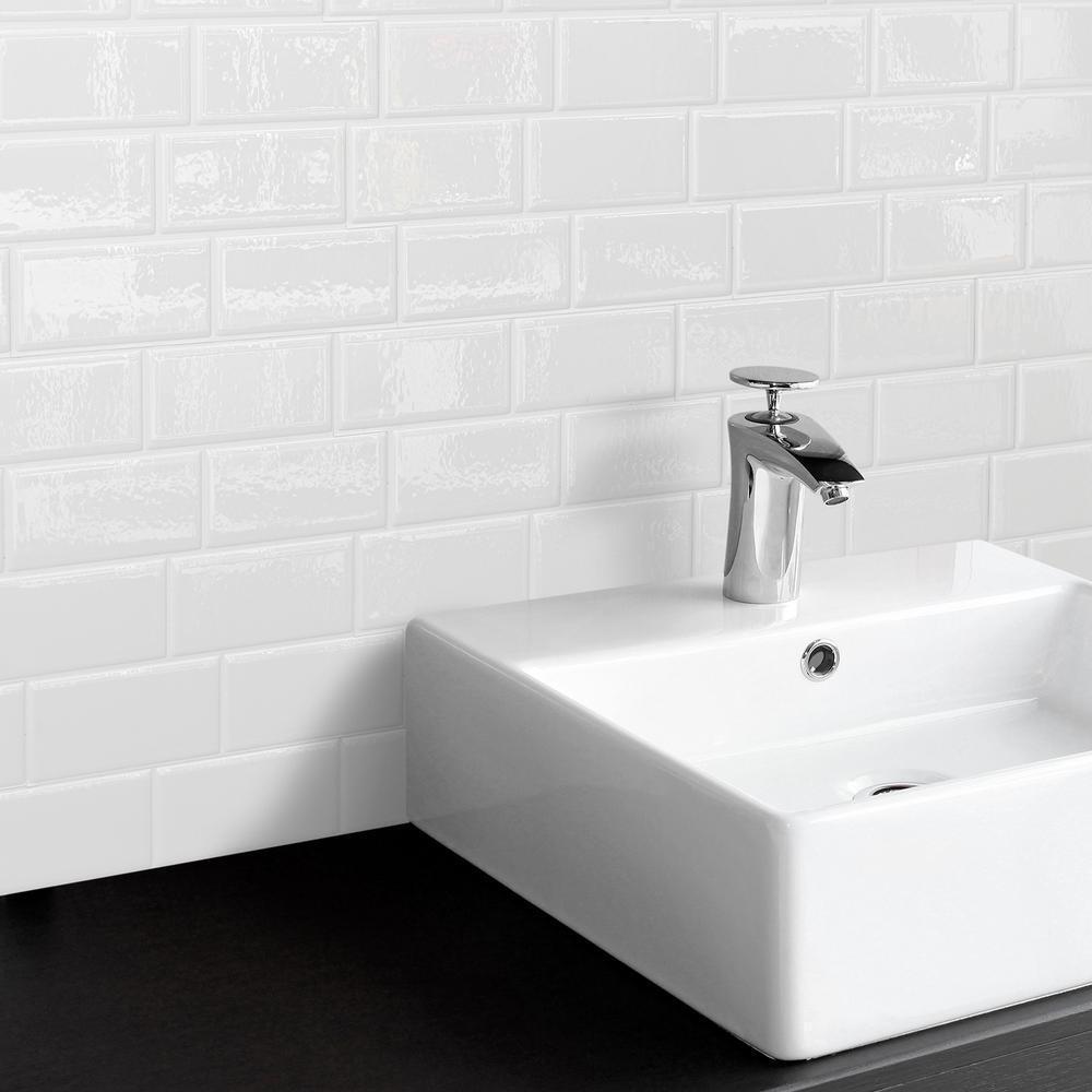 - Smart Tiles Peel And Stick Tile Backsplash Metro White Subway